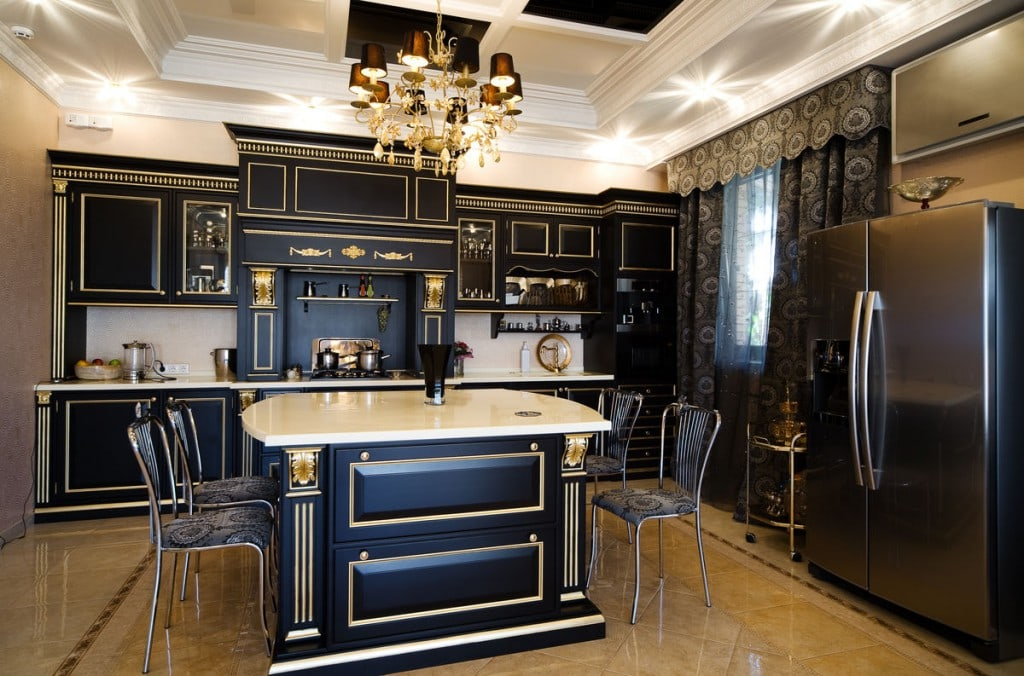 Amazing gold & black kitchen