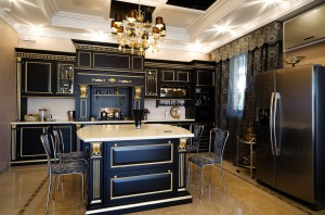 Amazing gold & black kitchen