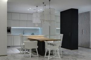 Avant-garde kitchen in black and white