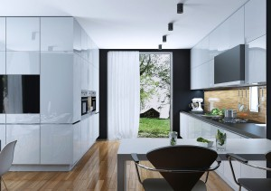 Clear and beautiful black & white kitchen