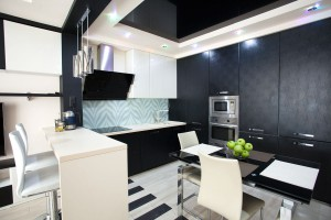 Black and white kitchen design with unusual details
