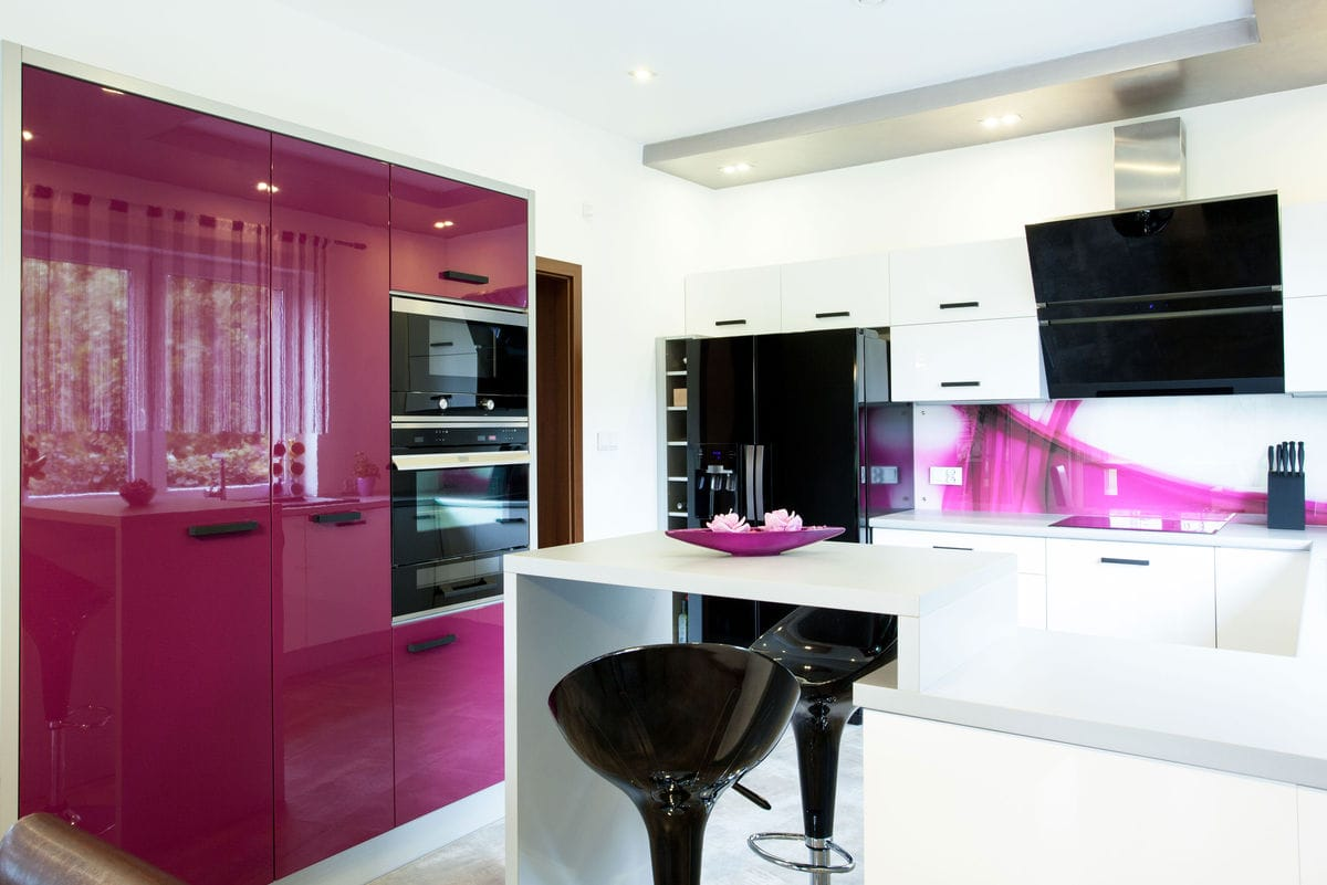 Black And White Kitchen With Purple