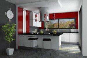 Black and white kitchen with red walls