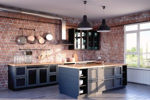 Sophisticated design: black kitchen and raw brick walls © Fotolia / Andreas Mueller