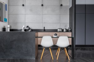 Black kitchen With Grey Wall Tiles