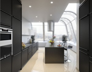 Black kitchen with an open plan layout