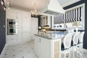 Country kitchen in an interesting black and white design