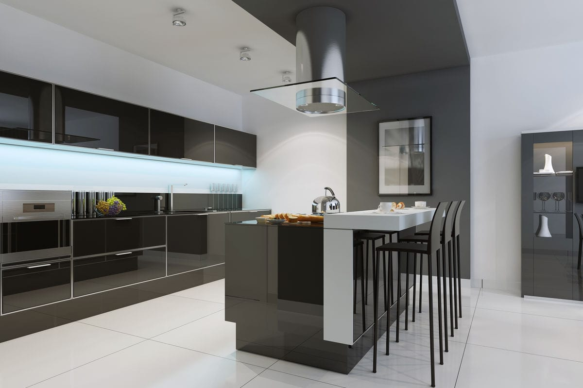 Elegant black kitchen