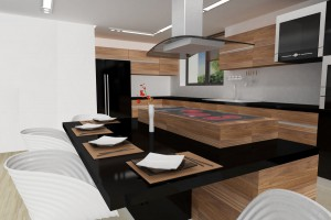 Kitchen with massive wood and black details