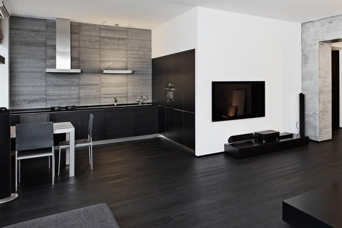Minimalism style black kitchen