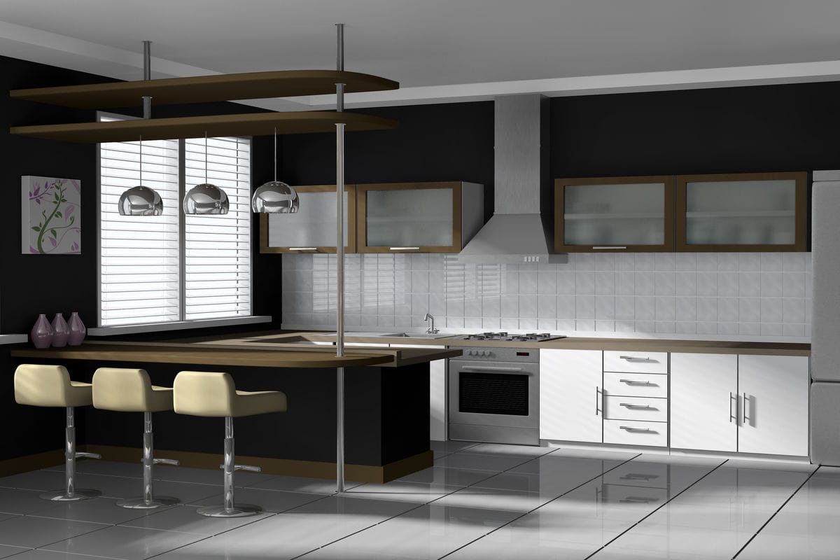Modern black and white kitchen for Black and white contemporary kitchen