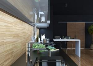 Modern black kitchen with bamboo flooring and backsplashes