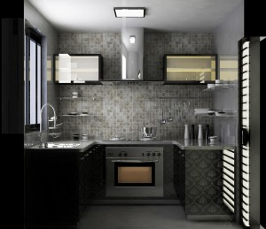Small grey and black kitchen with intricate detailing.