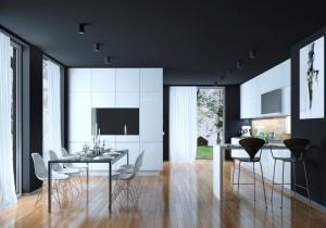 Sophisticated black & white kitchen