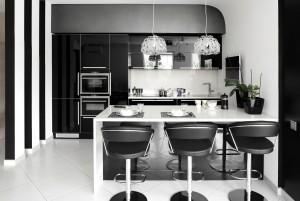 Stylish kitchen with a black & white all over design
