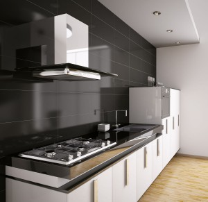 Black and white kitchen with stylish high-end appliances