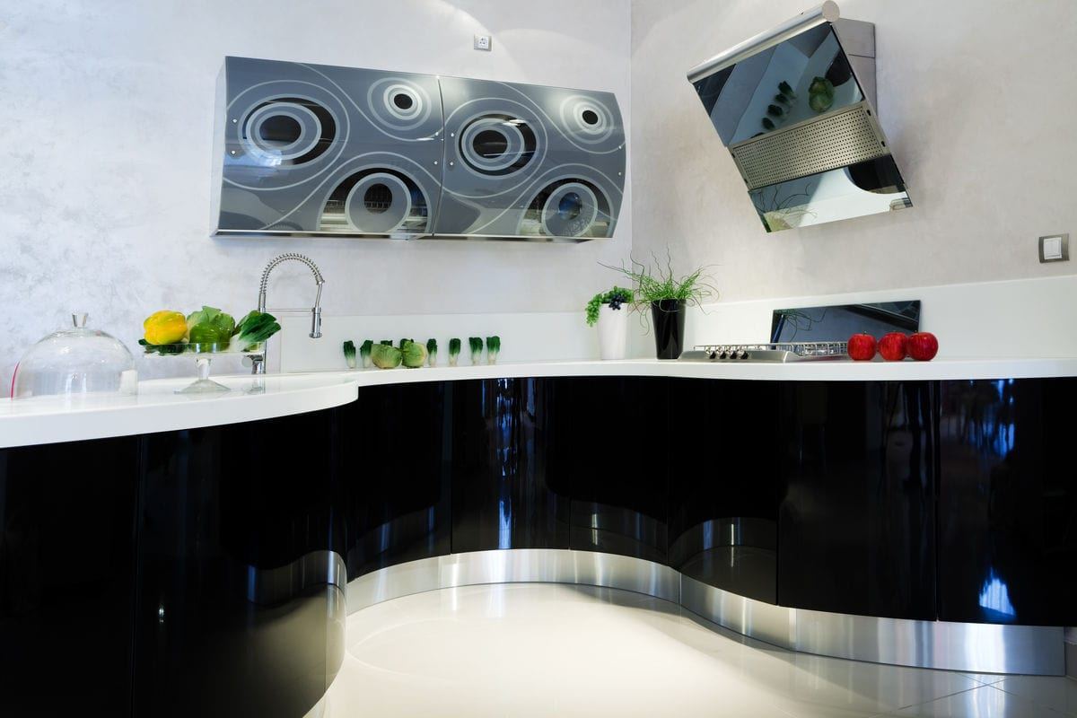 Ultra modern black designer kitchen.