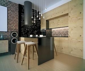Wooden kitchen with black details